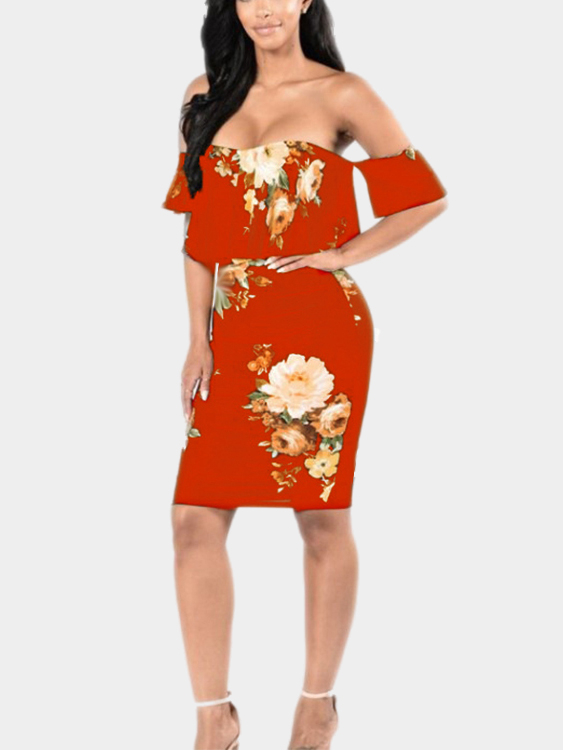 Off Shoulder Random Floral Print Bodycon Dress in Red cute off the shoulder floral print ruffled dress for women