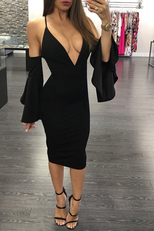 Black Dress With Cold Shoulder & Flared Sleeves
