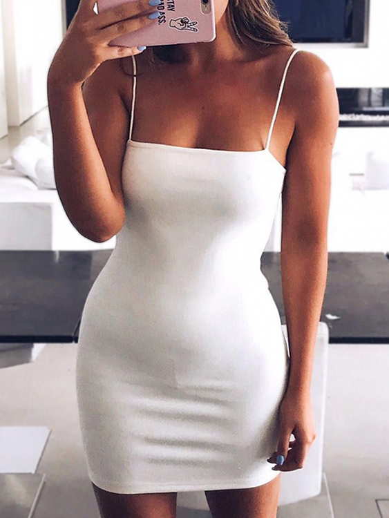 White Suede Criss-cross Back Mini Slip dress criss cross open back ruffle dress