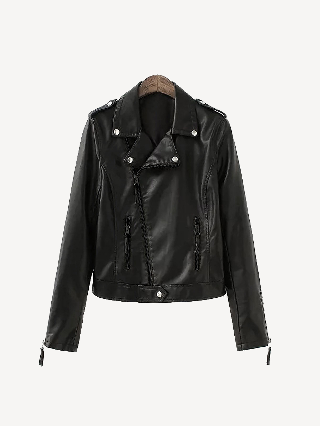 Biker Leather Jacket with Zipped Cuffs