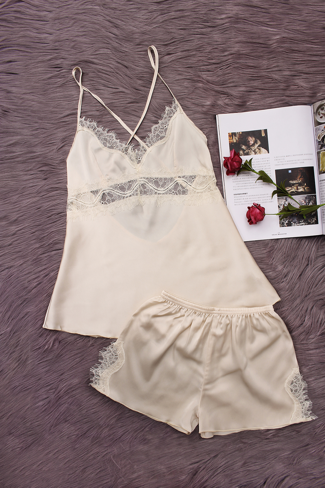 Apricot Hollow Out Lace detail V-neck Crossed Slip Pajamas sense and sensibility