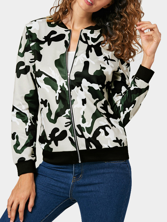 Camo Casual Round Neck Zipper Front Jacket