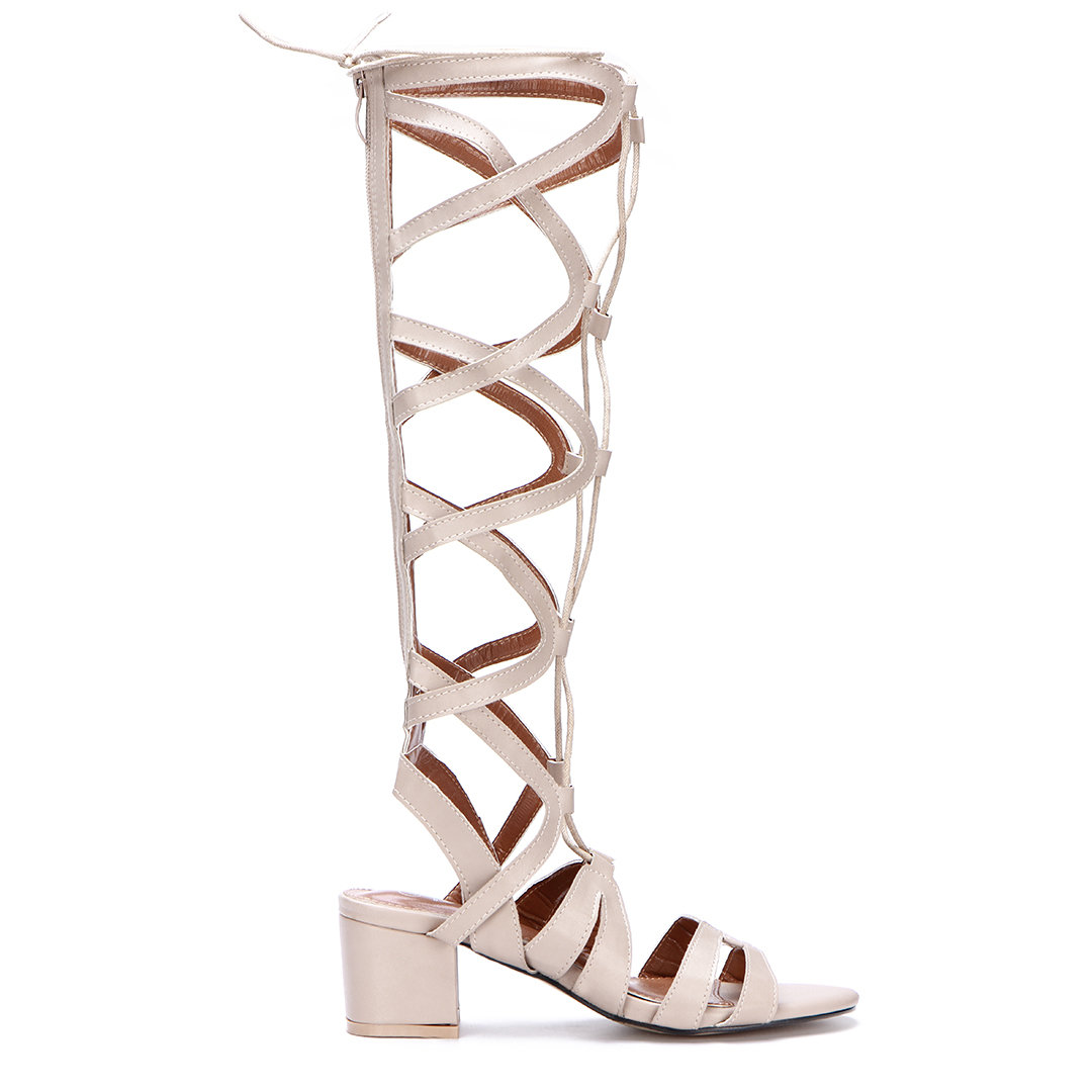 Beige Leather Look Knee-high Block Heel Tie Wrap Fastening Gladiator