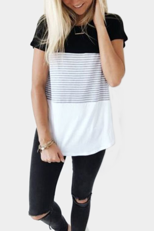 Black Stitching Stripe Pattern T-shirt with Contrast Color black and white stripe pattern pullover shirt