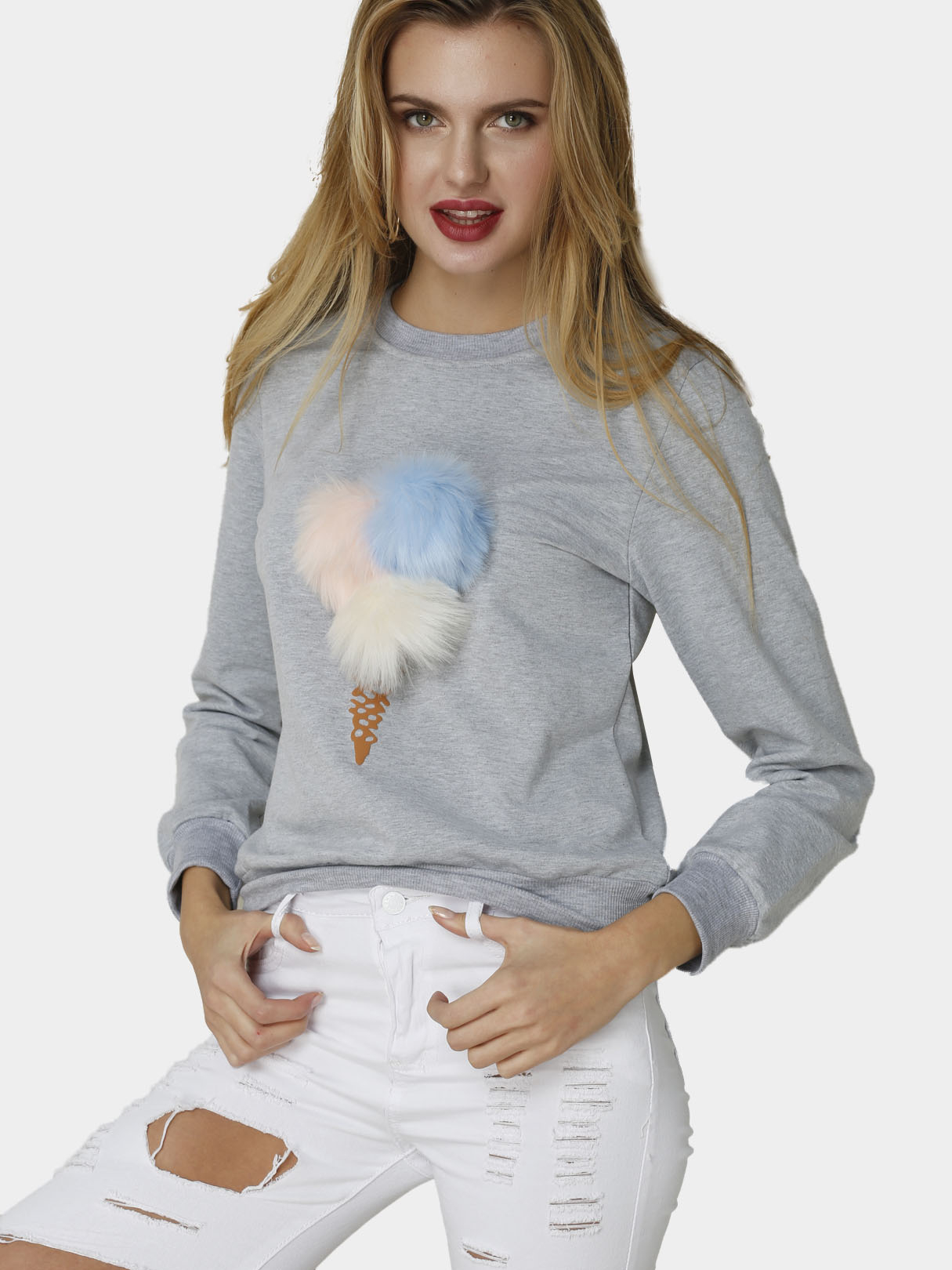 Grey Fashion Round Neck Long Sleeves Pom Pom Details Sweatshirt baby pom pom hem swan print romper with headband