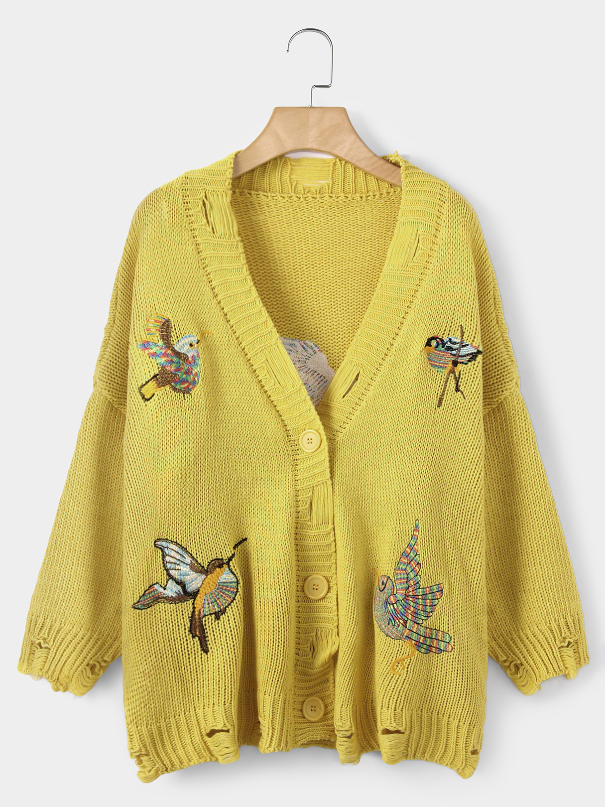 Yellow Bird Embroidered Hollow Design Sweater Outerwear