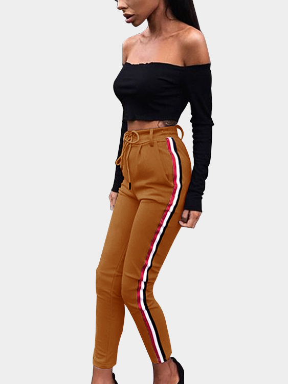 Brown Casual Stripe Side High-rise Pants