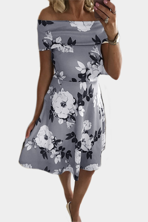 Grey Floral Print Off-The-Shoulder Tigh-waist Midi Dress