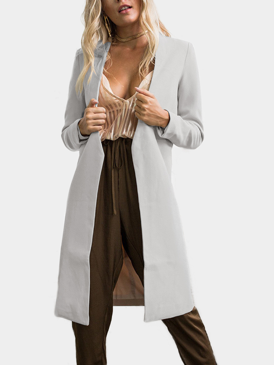 Grey Chimney Collar Open Front Long Sleeves Coat grey fashion sleeveless artificial fur open front coat