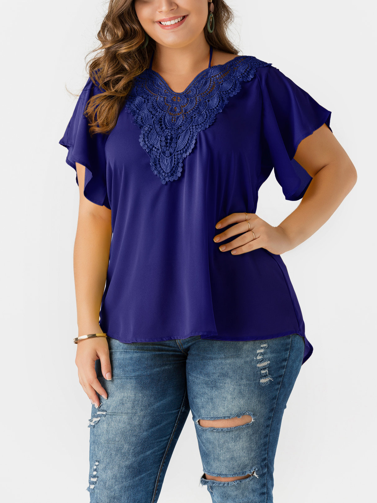 Blue Self-tie V-neck Bell Sleeves Lace Blouses