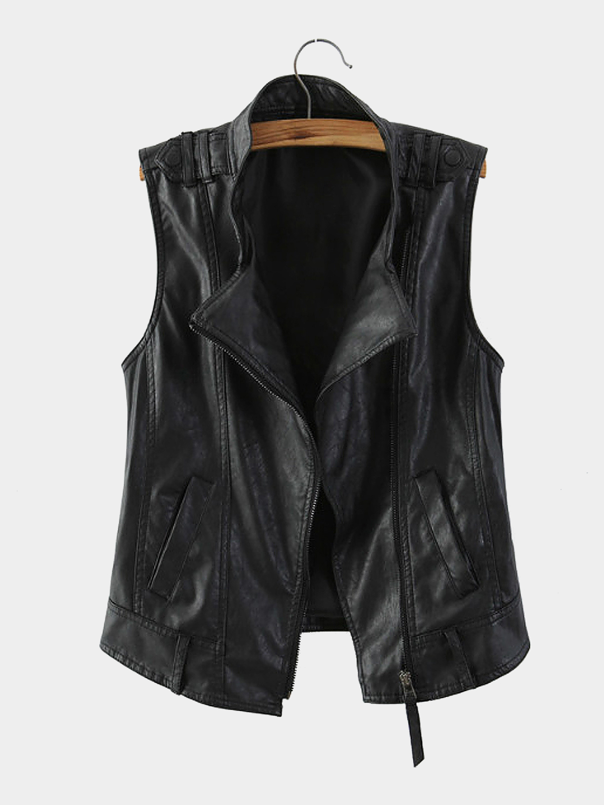 Leather Gilet with Stand Collar