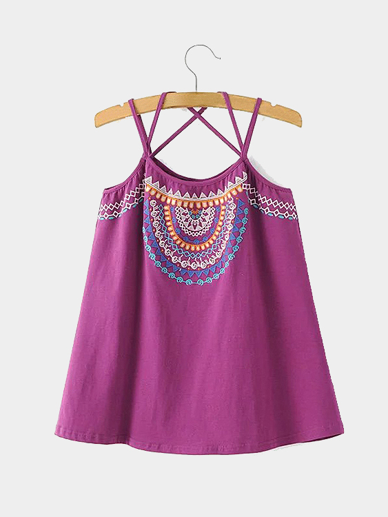 Thin Shoulder Straps Embroidery Details Cami