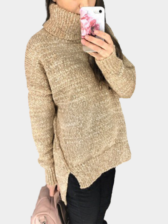купить Khaki Oversize Knit Roll Neck Irregular Hem Sweater недорого