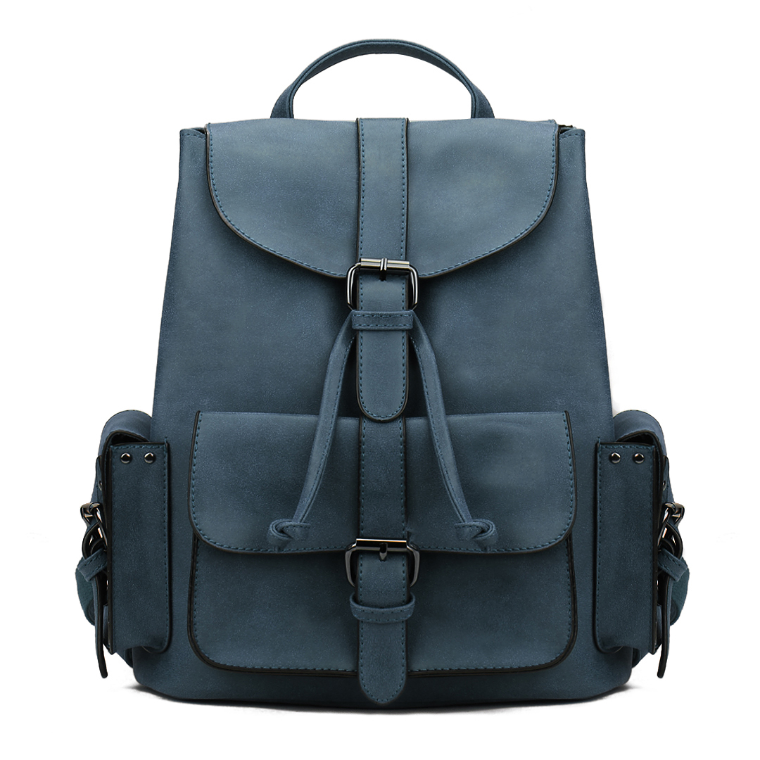 Leather-look Two Side Pockets Backpack in Blue