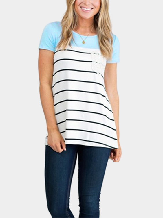 Stripe Pattern Round Neck Stitching Design T-shirt in Light Blue stripe pattern shirt in sweet design