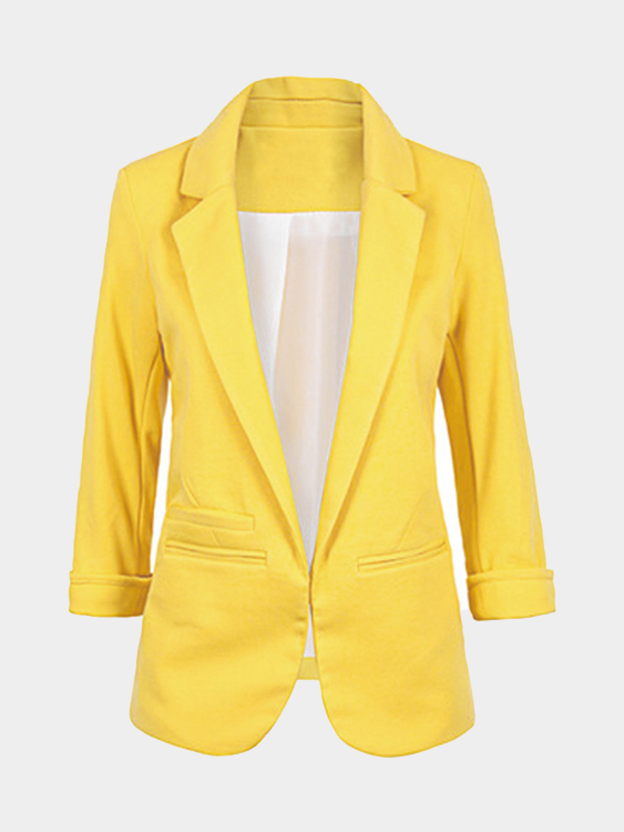 Yellow Fashion Three Quarter Length Sleeves Open Front Blazer