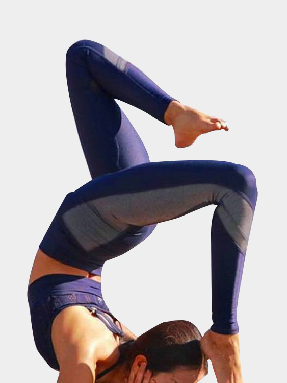 Active Comfy Contrast Color Quick Drying High Waist Leggings in Blue