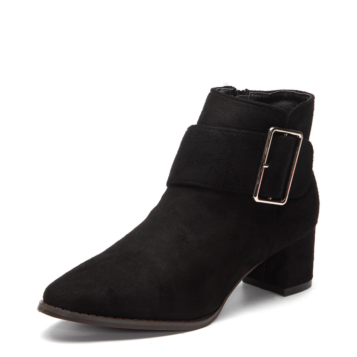 Black Suede Chunky Heels Buckle Short Boots
