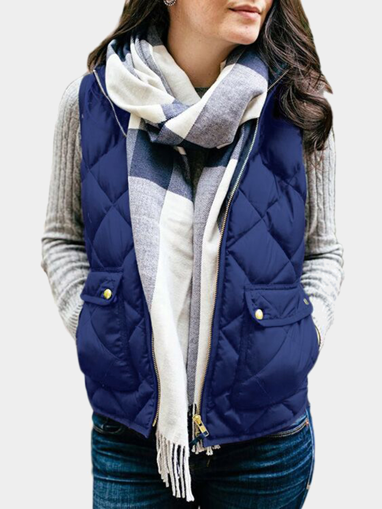 Royal Blue High Neck Sleeveless Gilet Outfit royal blue high neck sleeveless gilet outfit