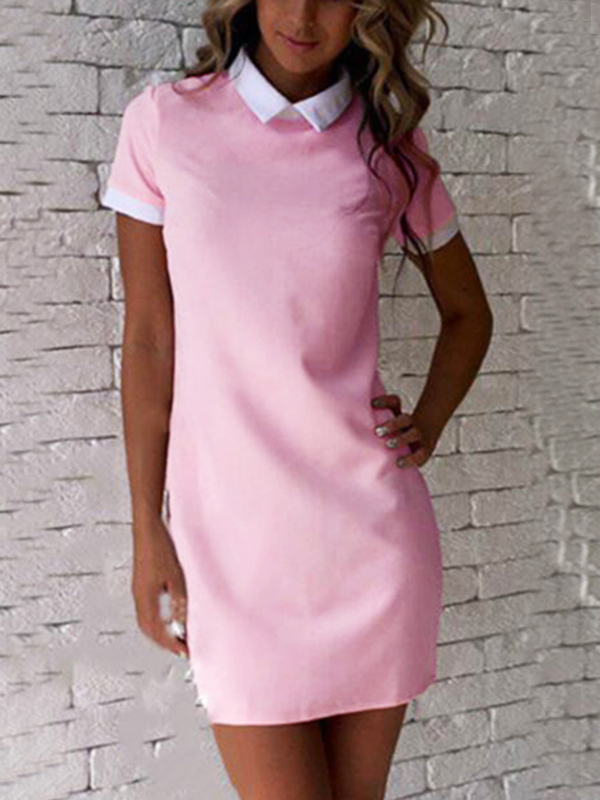 Pink Mini Dress With Short Sleeves
