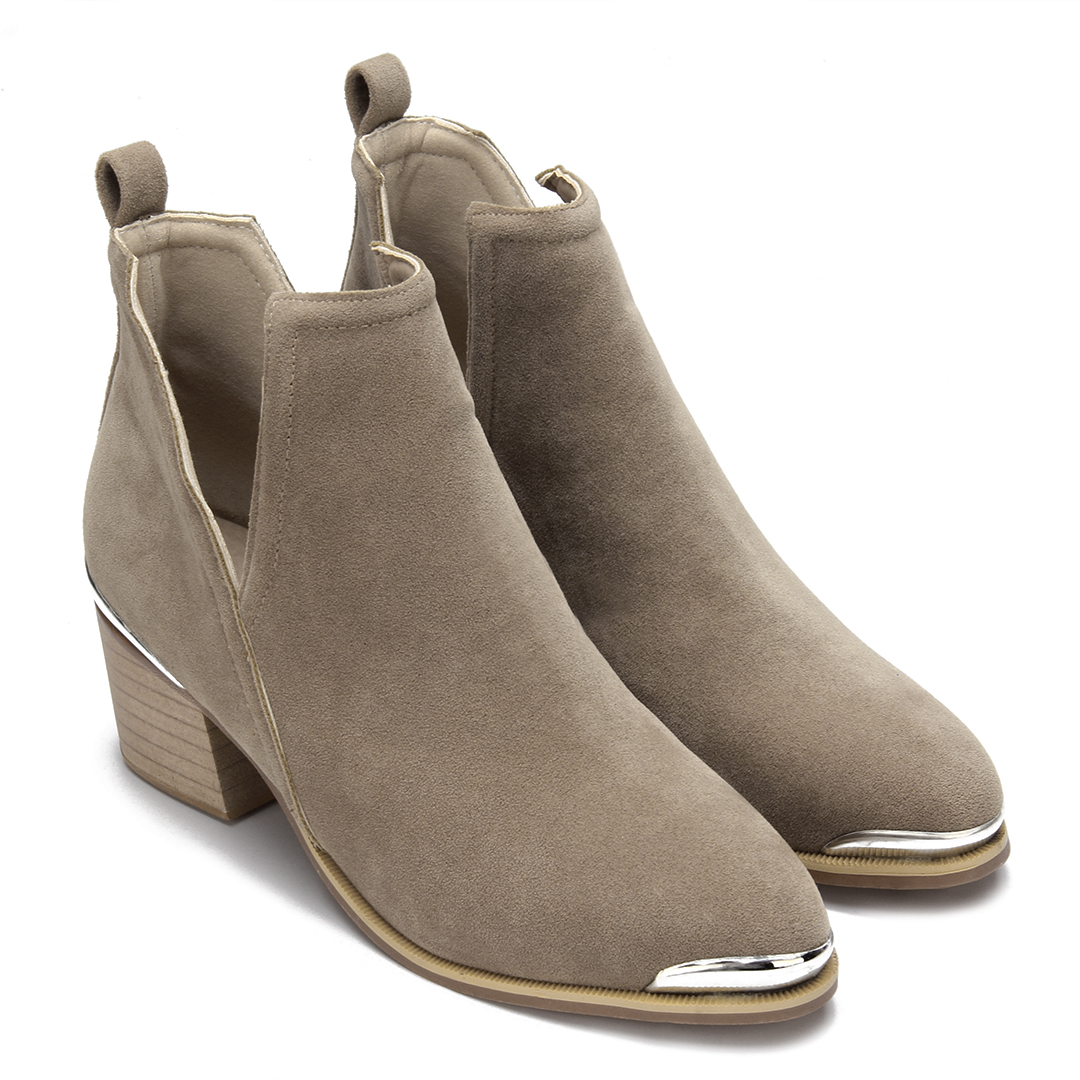 Khaki Cut Out Block Heel Ankle Boots
