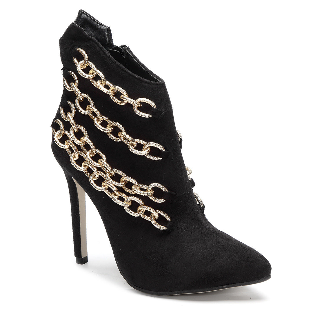 Black Chain Embellished Suede Stiletto Short Boots