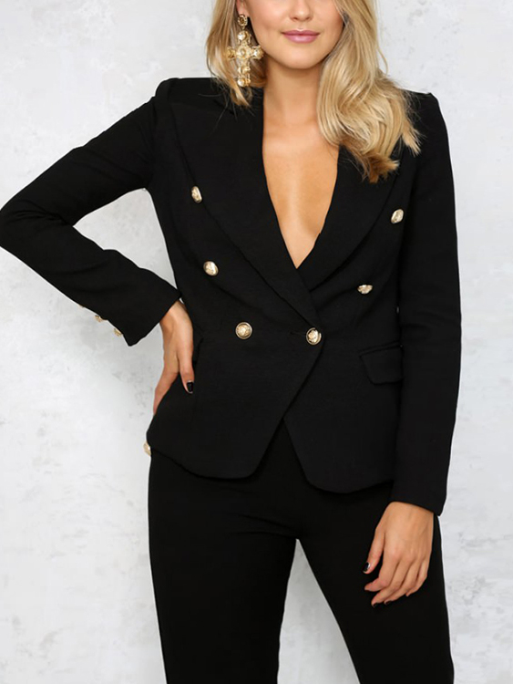 Black Lapel Double Breasted Blazer With Pockets от Yoins.com INT