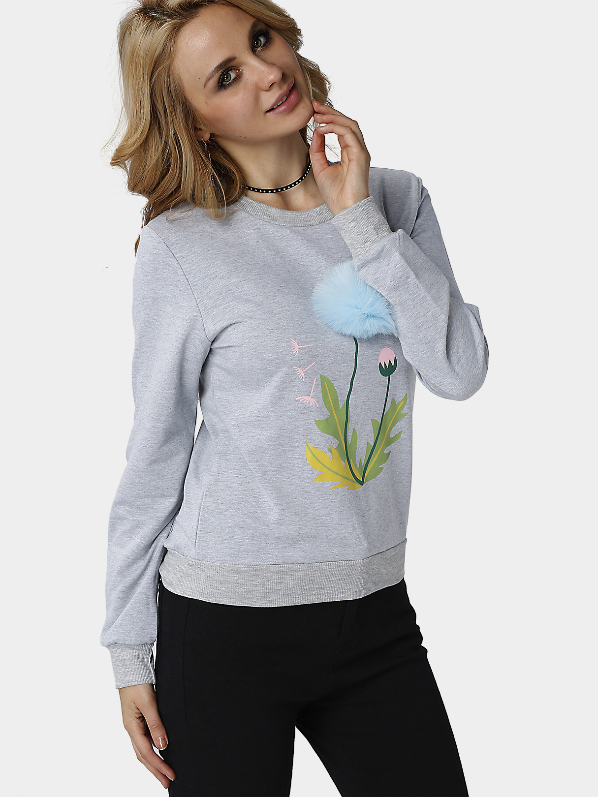 Grey Round Neck Dandelion Pop-up Print Sweatshirts