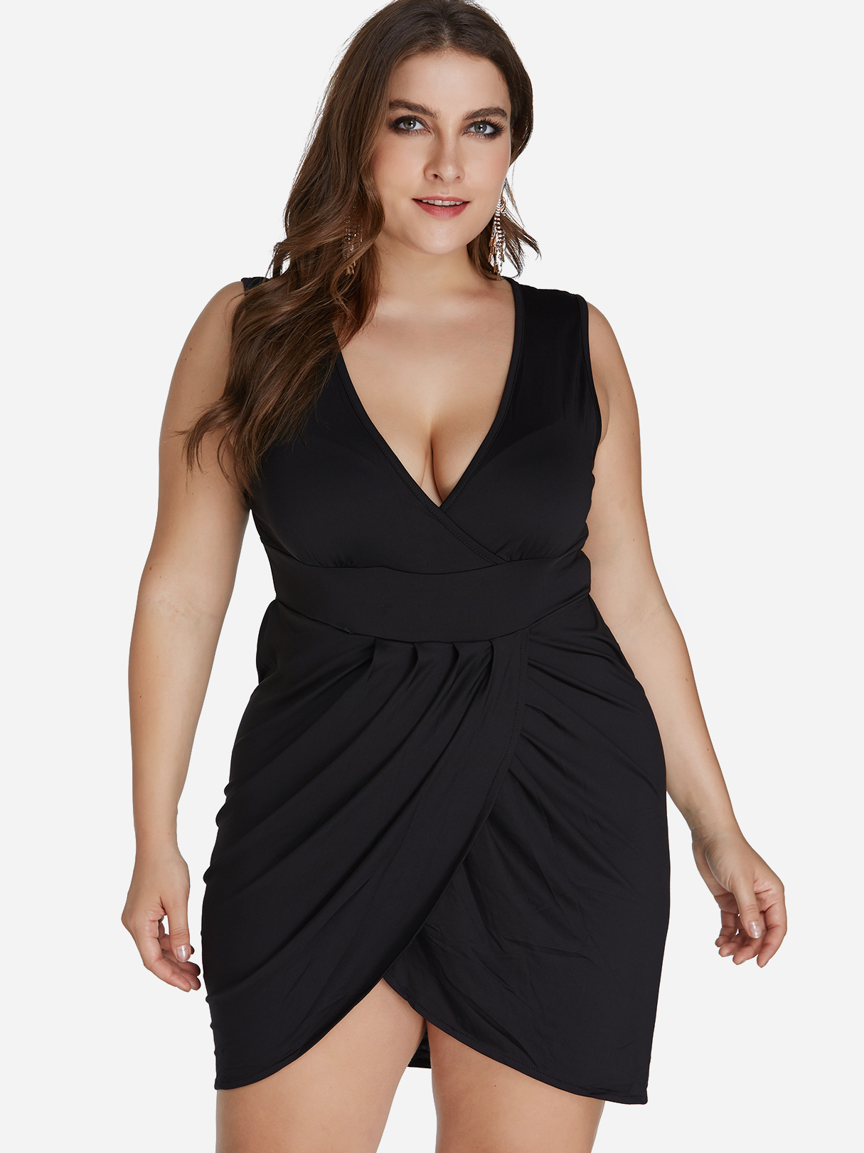 54bc3a328ca Plus Size Gold Crossed Front Design V-neck Sleeveless Dress - yoins ...