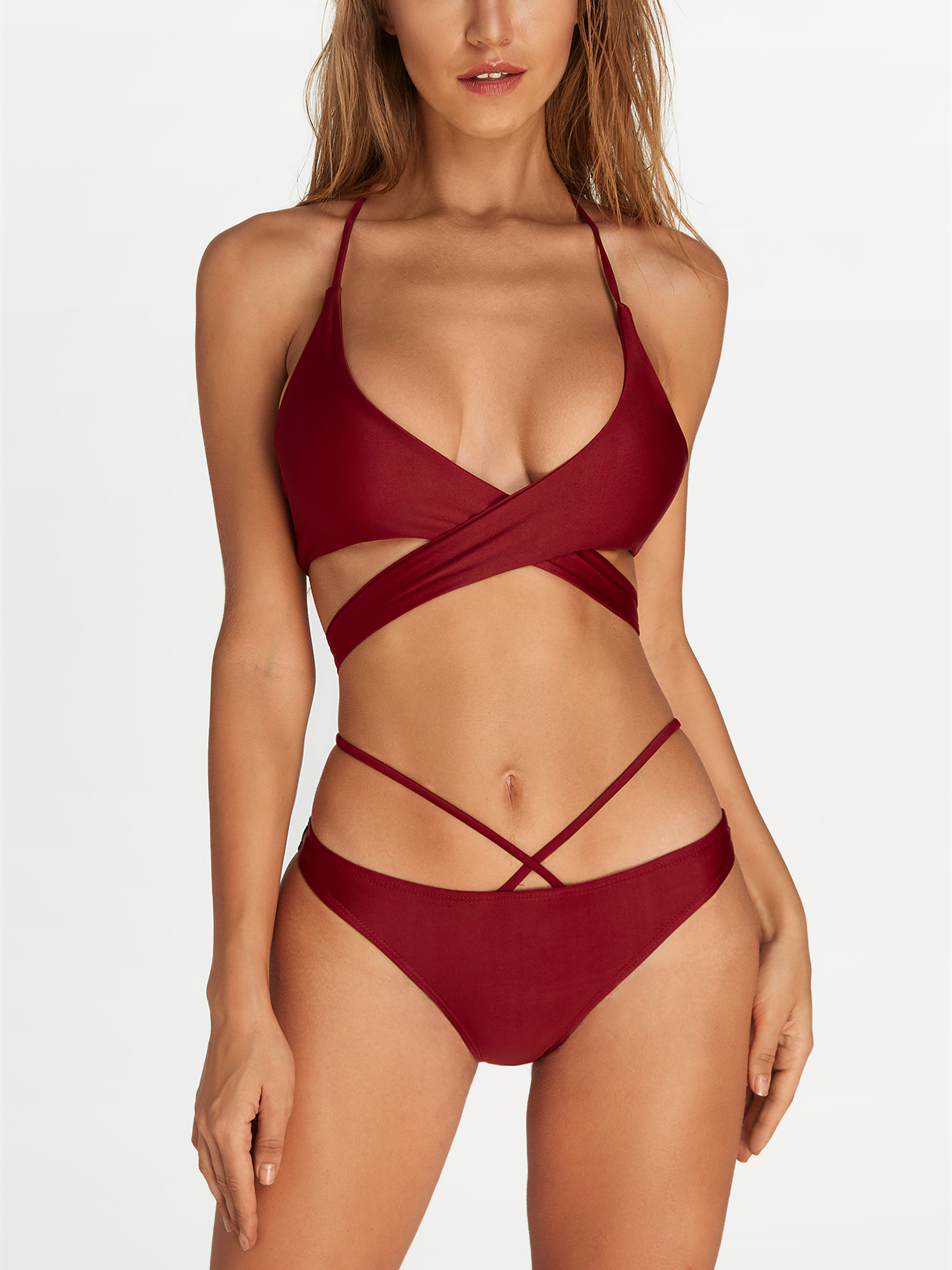 Burgundy Criss Cross Halter Tie Back Bikini tie side criss cross knot back bikini set