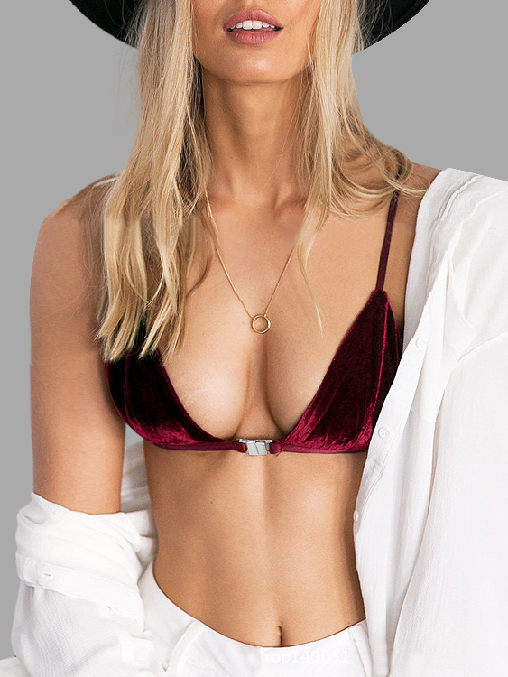 Burgundy Sexy Velvet V-neck Simple Bralet