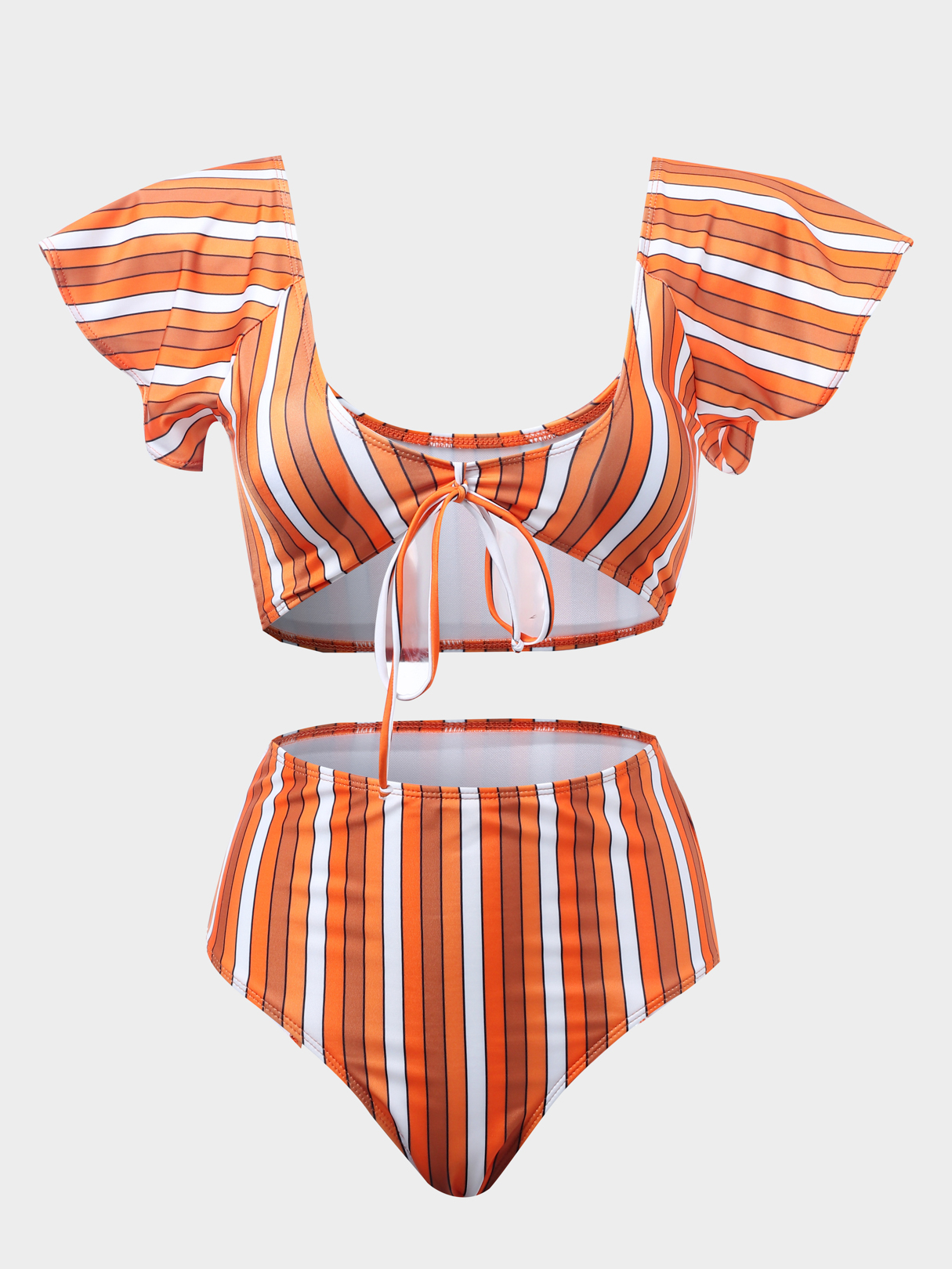 Stripe Scoop Neck Short Sleeveless High Waist Bikinis miracool neck bandana re usable 100 s of times keeps you cool red 2 pack