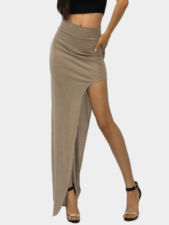 Brown Sexy Medium Waist High Splited Irregular Hem Maxi Bodycon Skirt brown suede cross front high waist bodycon skirt