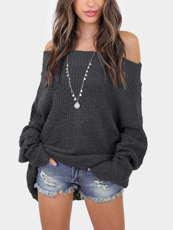 Grey Off The Shoulder Long Sleeves Loose Plunge Sweaters grey loose plunge lantern sleeve pullover sweater