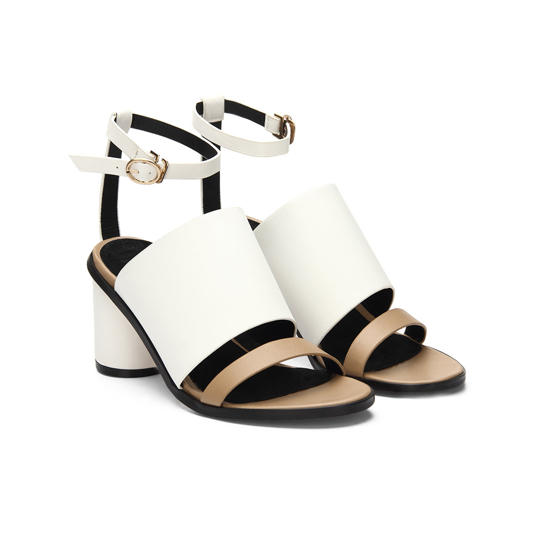 White Leather Look Peep Toe Round Heel Ankle Strap Sandals