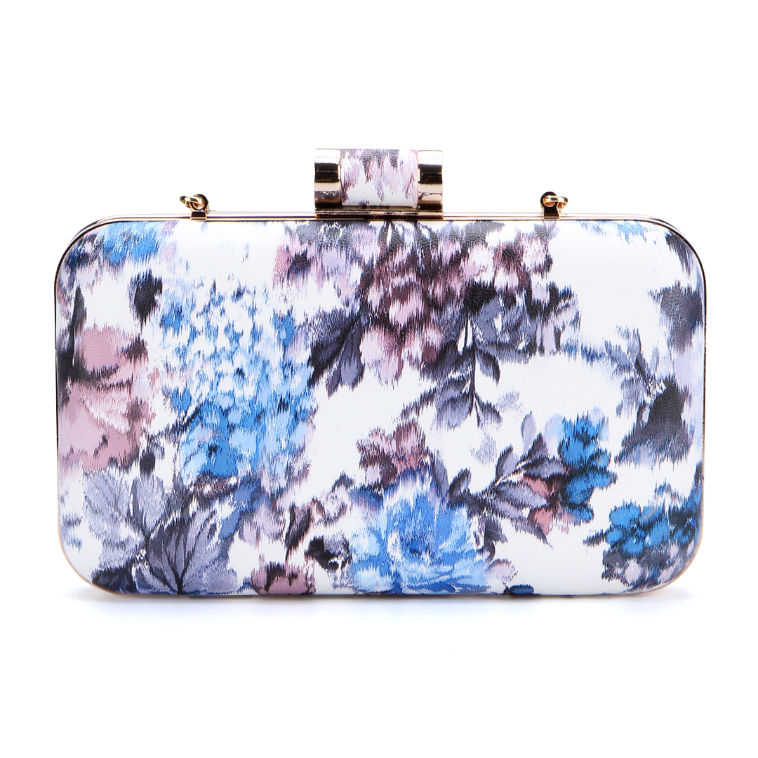 Purple Floral Print Pattern Clutch Bag with Gold-tone Hardware