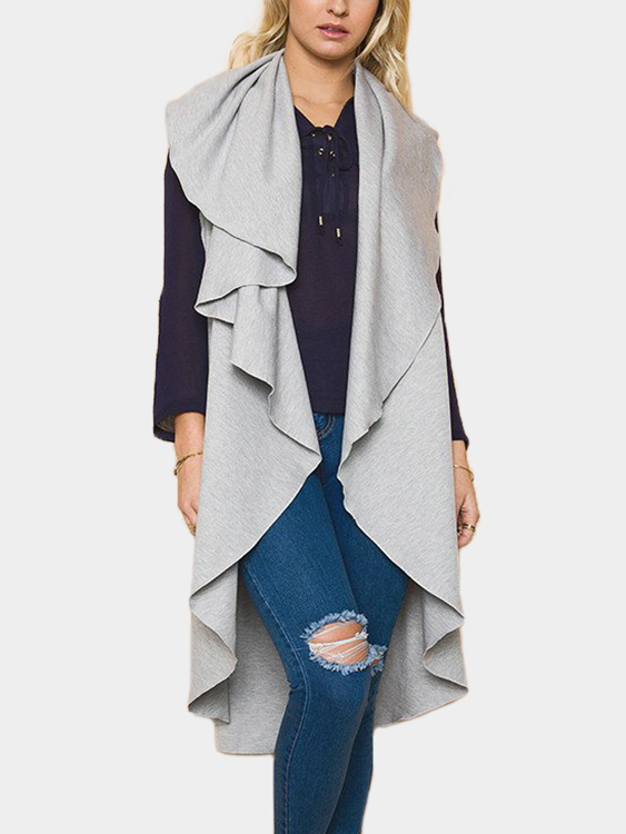 Grey Plain Lapel Collar Sleeveless Trench Coat grey lapel collar sleeveless cape