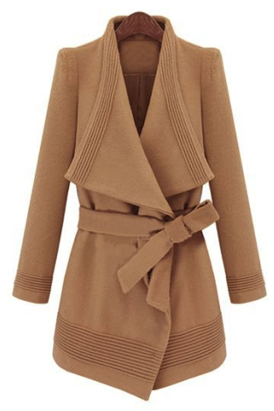 Waterfall Camel Coat with Belt