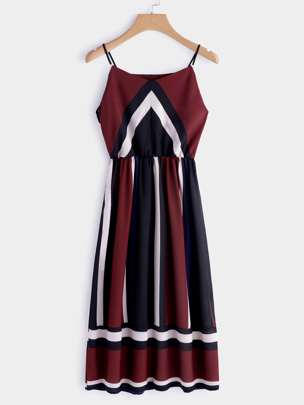 Color Block V-neck Sleeveless Spaghetti Beach Dress in Burgundy