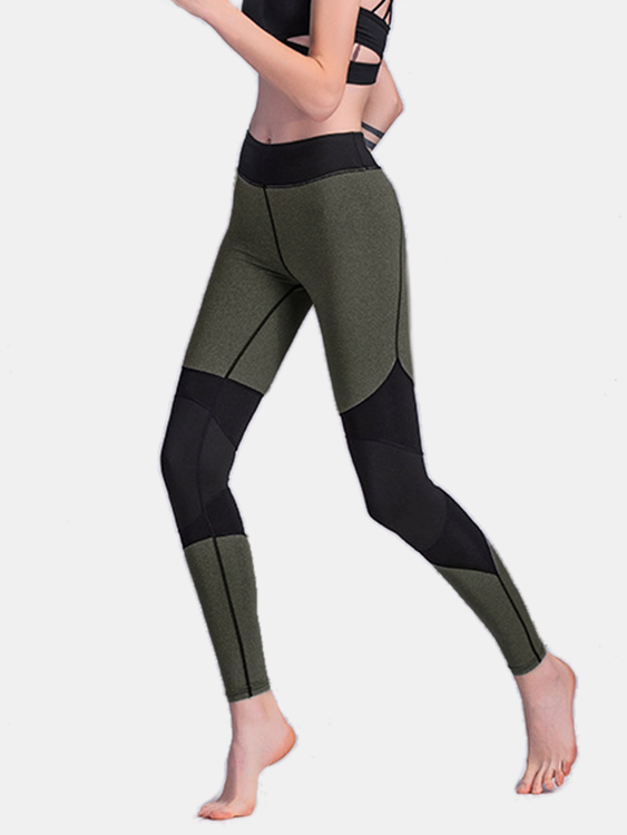 Active Stitching Design High-Waisted Sports Leggings in Green active yarn net stitching design gym leggings in black