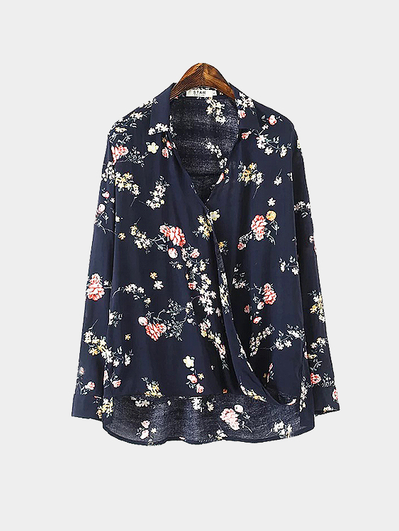 Wrap Front Floral Printing Blouse