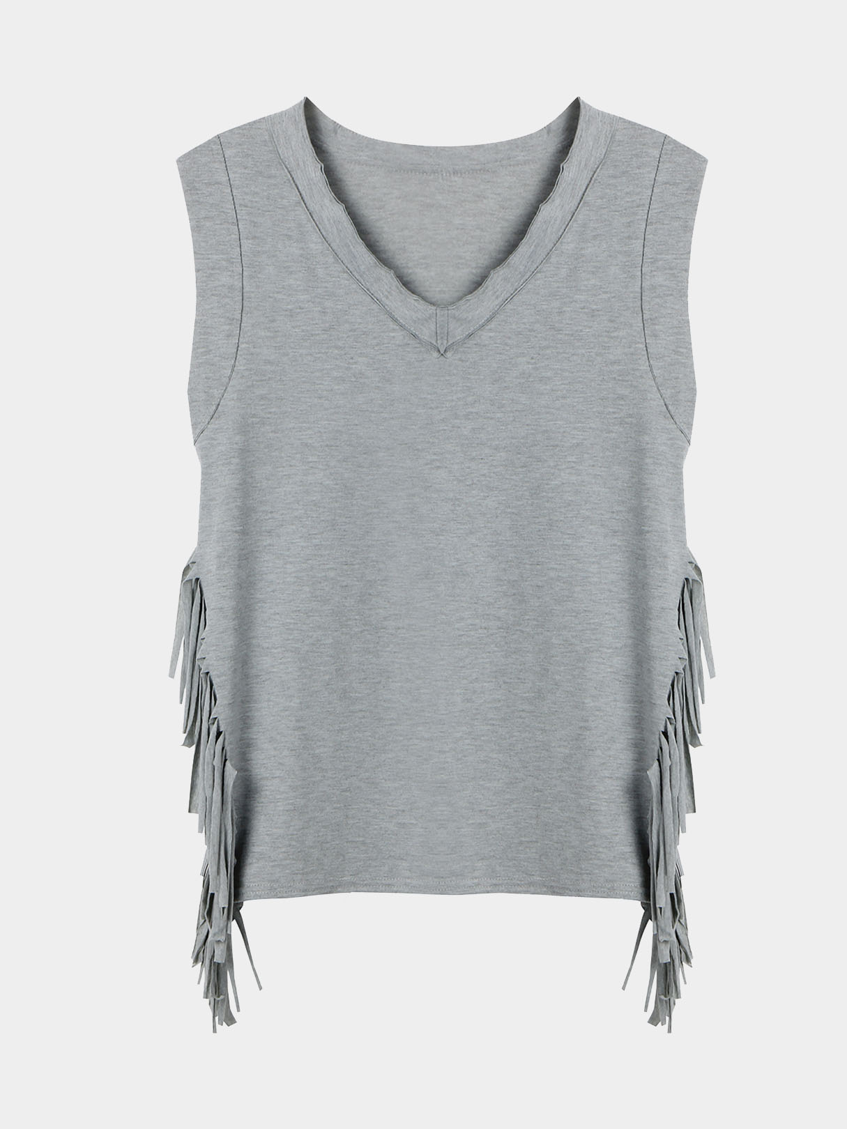 Grey V-neck Sleeveless Split Tassels Side T-shirts