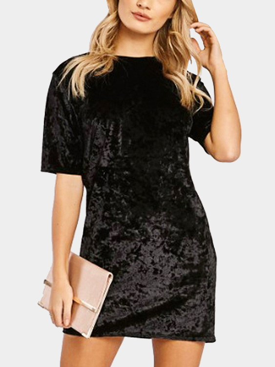 Black Velvet Round Neck Mini T-Shirt Dress christmas faux fur fitted velvet short party dress with hat