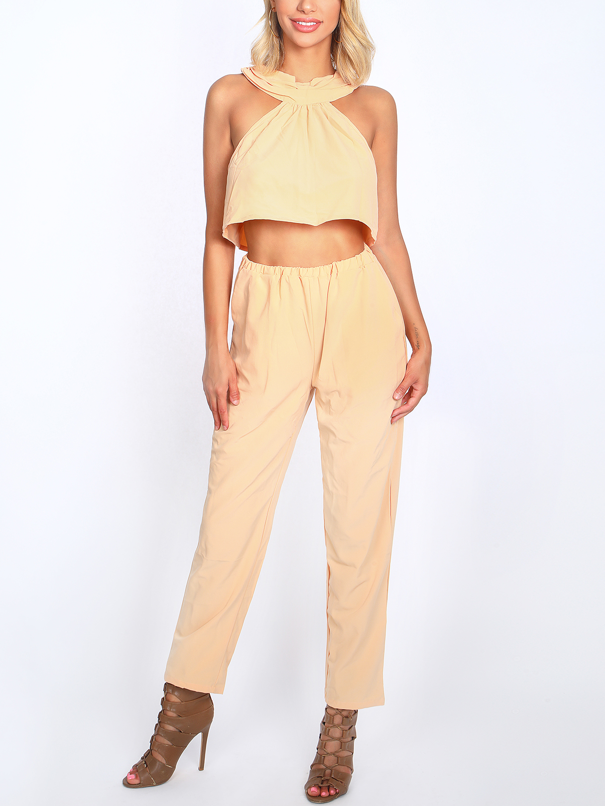 Yellow Sleeveless High Waist Halter Co-ord burgundy tube top and trumpet trousers co ord