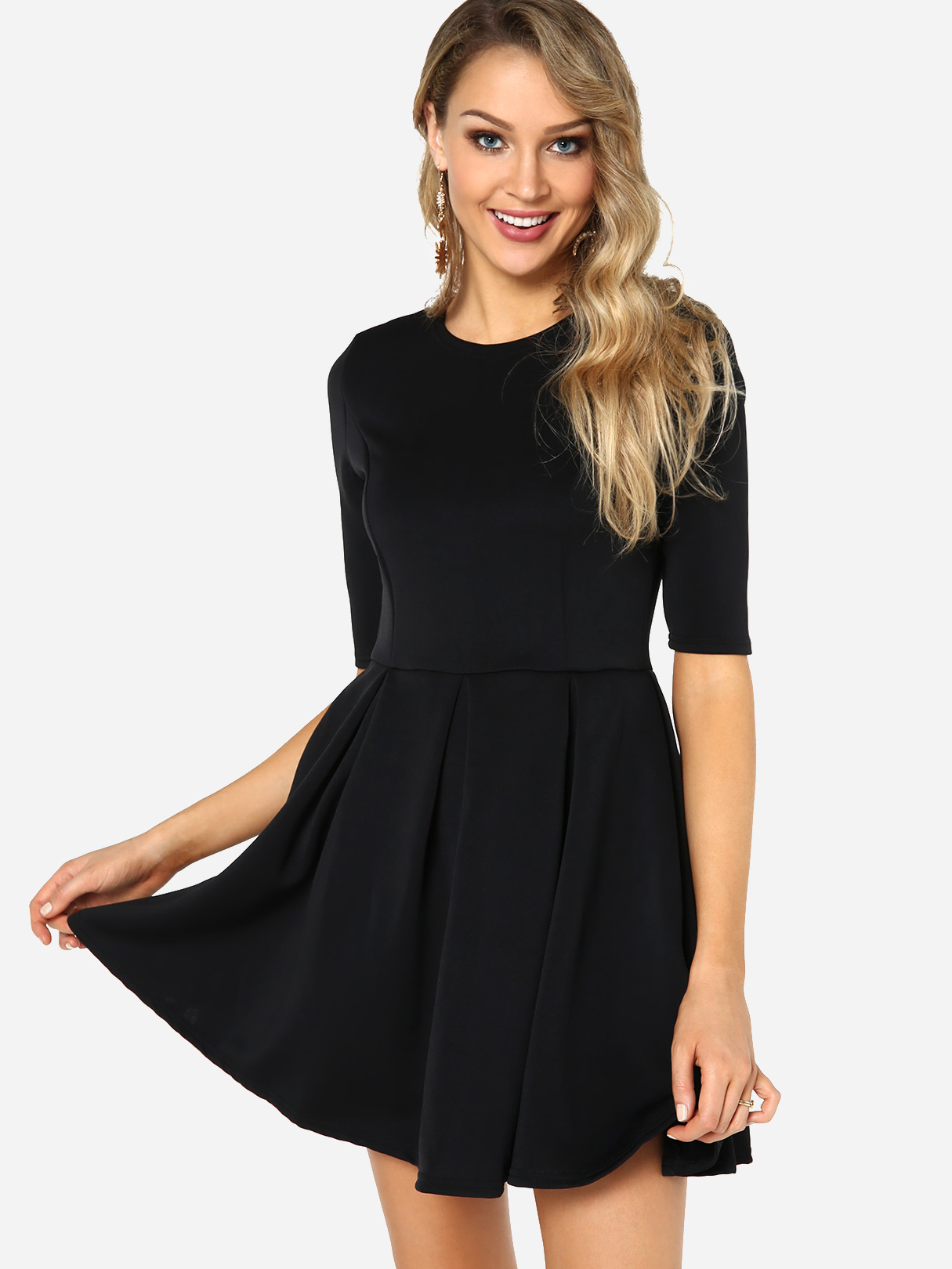 Black Casual Round Neck Tight Waist Mini Dress Us 21 95