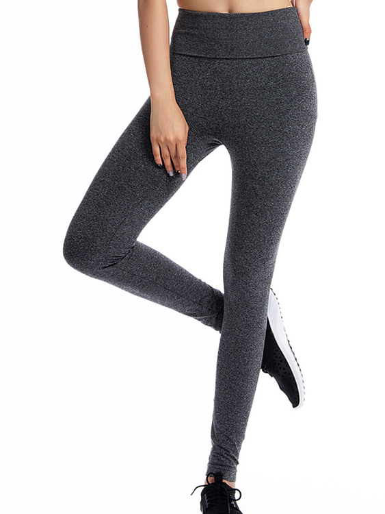 Active High Elastic Quick Drying High Waisted Leggings in Grey active net yarn stitching high waisted sports leggings in grey