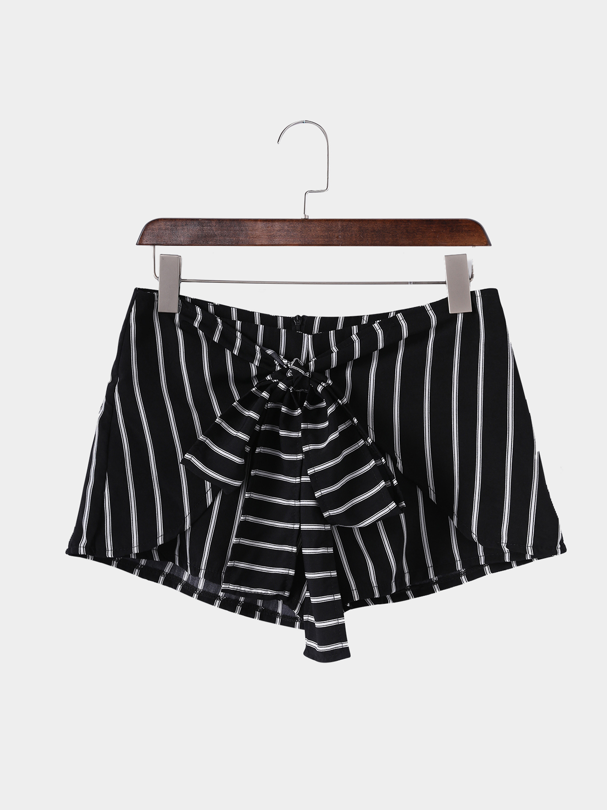 Black Stripe Pattern Bow Tie Front Shorts brown stripe pattern irregular hem cardigan