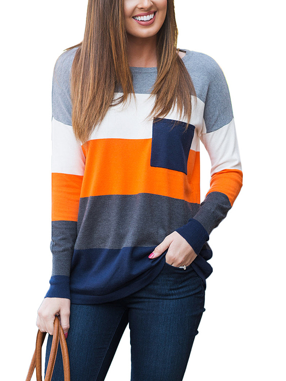 Orange Stripe Color-stitching Round Neck Long Sleeves T-shirt green stripe color stitching round neck long sleeves t shirt