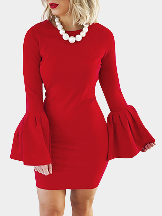 Red Solid Color Flared Sleeves Bodycon Mini Dresses black zip design plain round neck flared sleeves midi dress