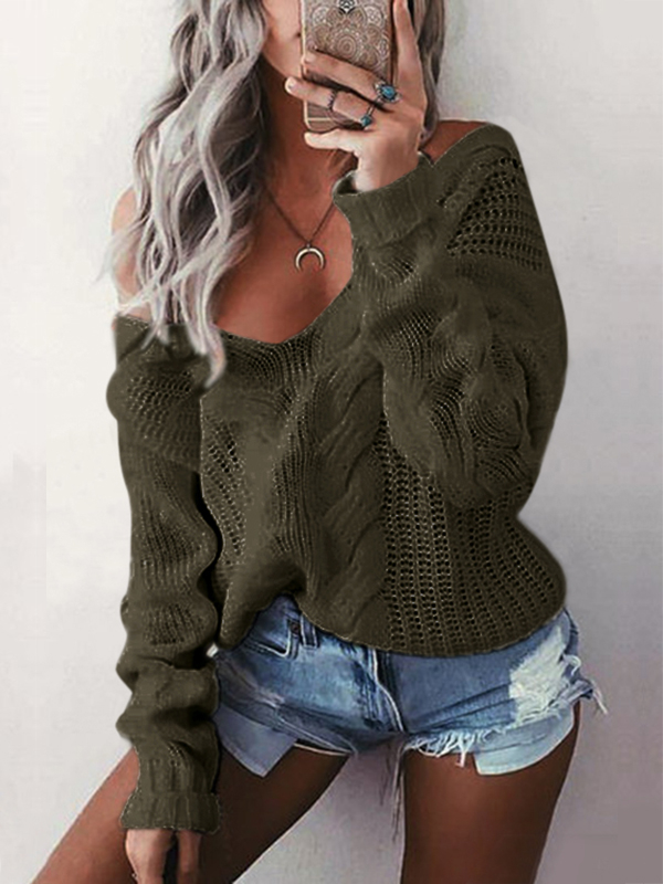 Army Green V-neck Long Sleeves Causal Loose Jumper